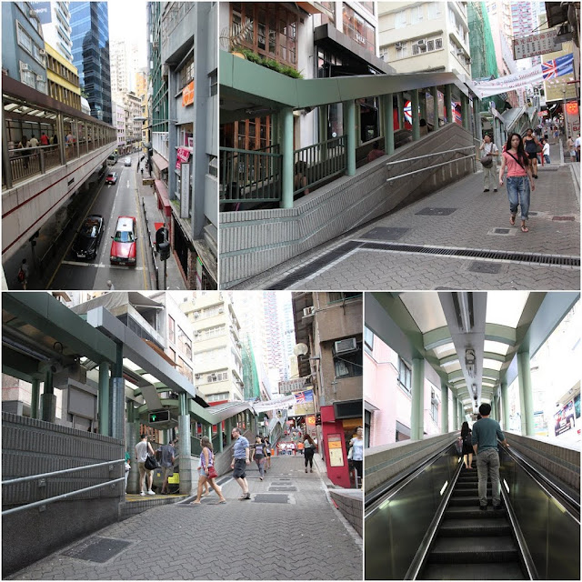 Heading to the second top of SoHo Central mid level escalators in Hong Kong Island of Hong Kong