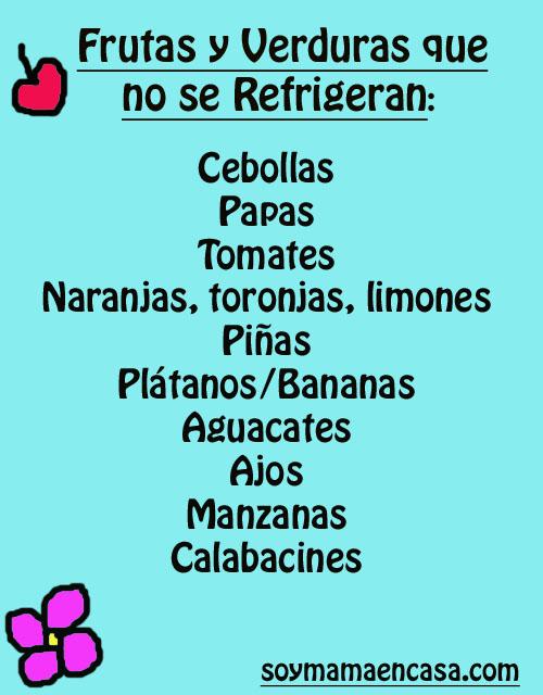 frutas y verduras que no se refrigeran. Trucos caseros