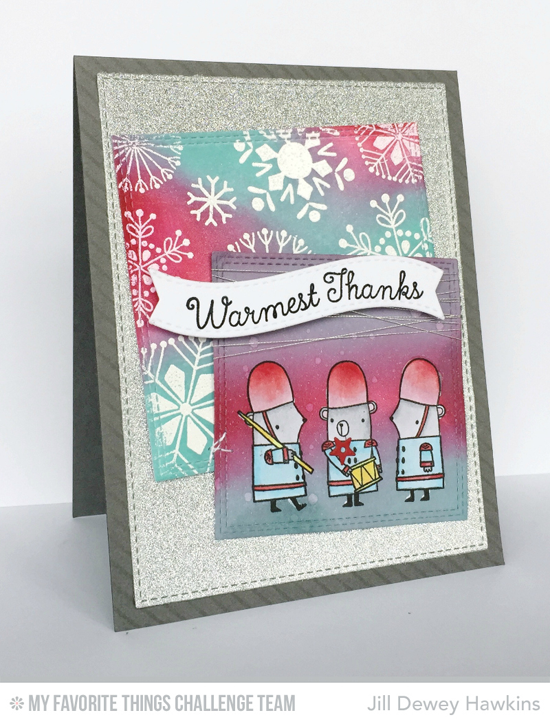 Festive London Mice Card by Jill Dewey Hawkins featuring the London Mouse, Snowflake Flurry, and Laina Lamb Design Hug in a Mug stamp sets #mftstamps
