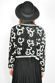 Vintage 1990's black and white baroque style sequined trophy jacket.