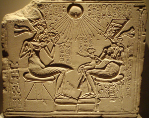 "A ""house altar"" depicting Akhenaten, Nefertiti and three of their Daughters"