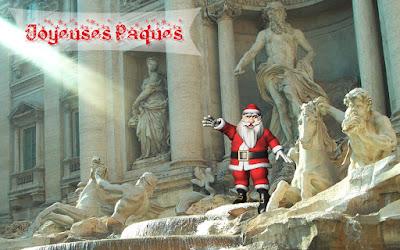 Le Père Noël trempe ses pieds dans la fontaine de Trevi, à Rome