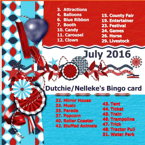 July 2016 - Dutchie-Nelleke's Bingo card