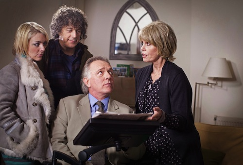 Joey Ross (SHERIDAN SMITH), Jonathan Creek (ALAN DAVIES), DI Gideon Pryke (RIK MAYALL), Rosalind Tartikoff (JOANNA LUMLEY) in Jonathan Creek, BBC1