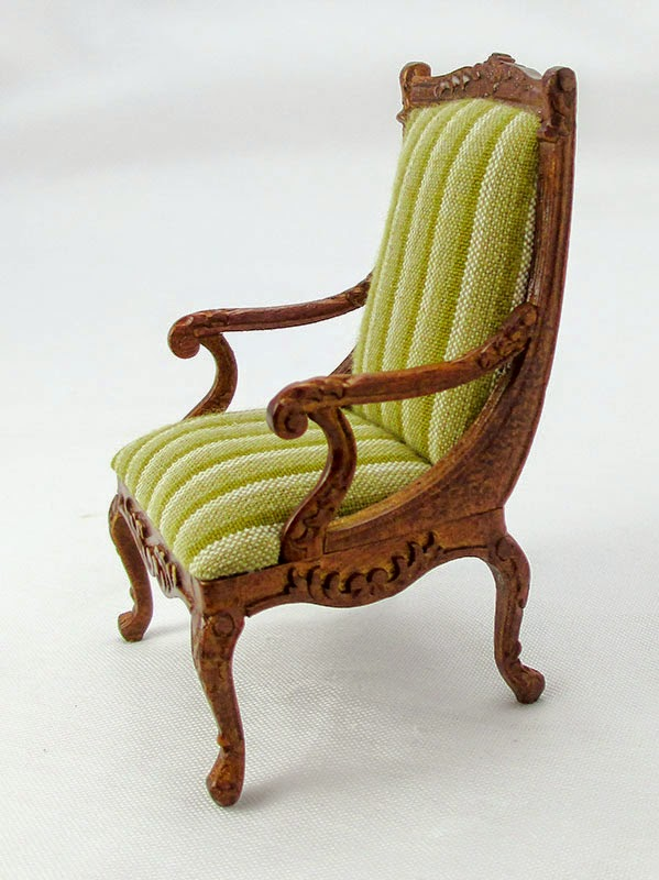 Regency Style Club Chair Upholstered In An 1832 Style.