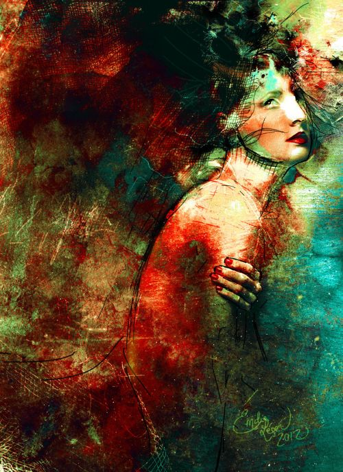 emilie leger foto manipulação digital surreal mulheres modelos sombria Ter dor como uma escrava