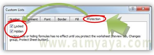 Gambar: Cara mengaktifkan proteksi format cells untuk menyembunyikan rumus/formulai Microsoft Excel