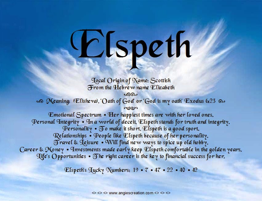 The meaning of the name -  Elspeth