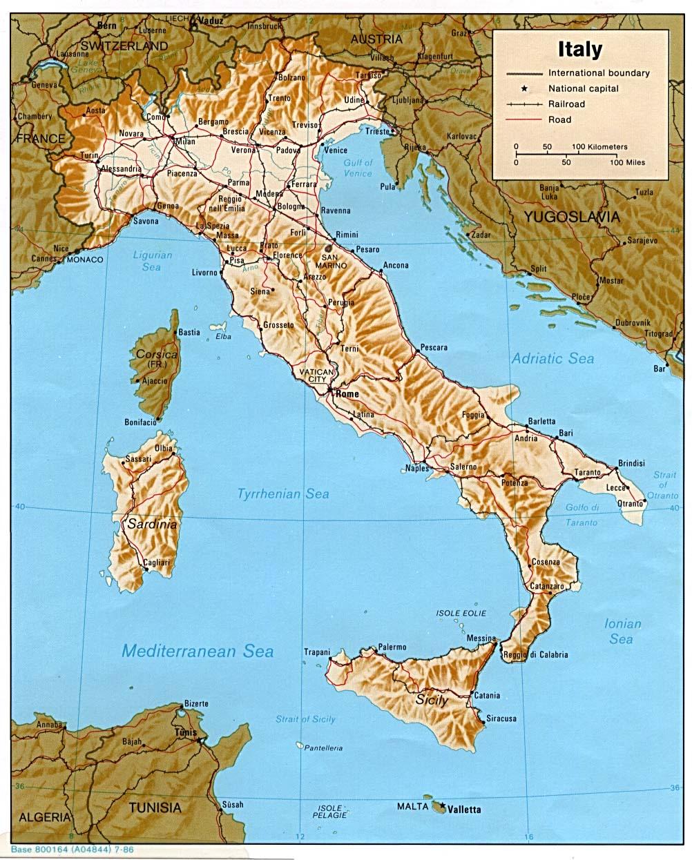 Landkarten von italien 1986 englisch