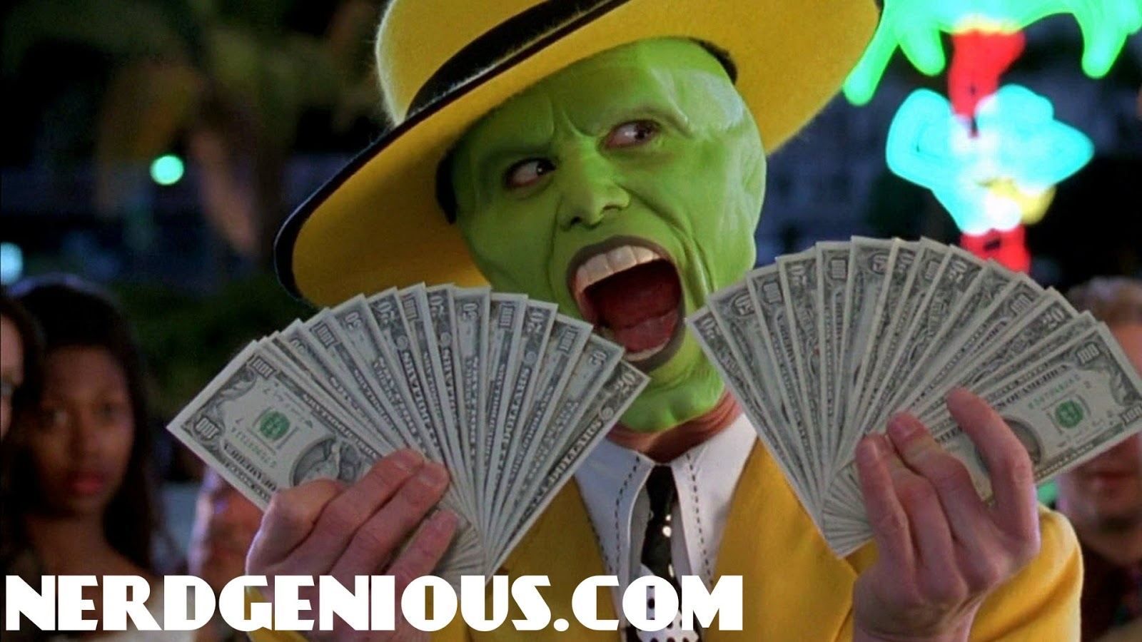 Anti-gun violence actor Jim Carrey in The Mask, a movie that makes comedy out of gun violence