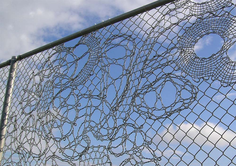chain link fence art lacing wires micro