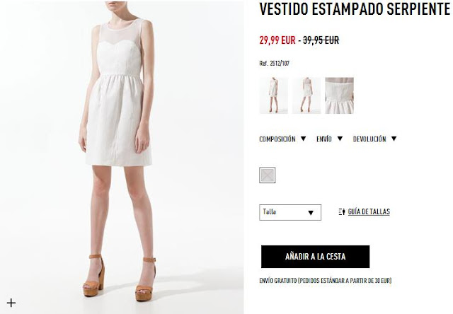 Vestido blanco escote corazón Zara primavera/verano 12