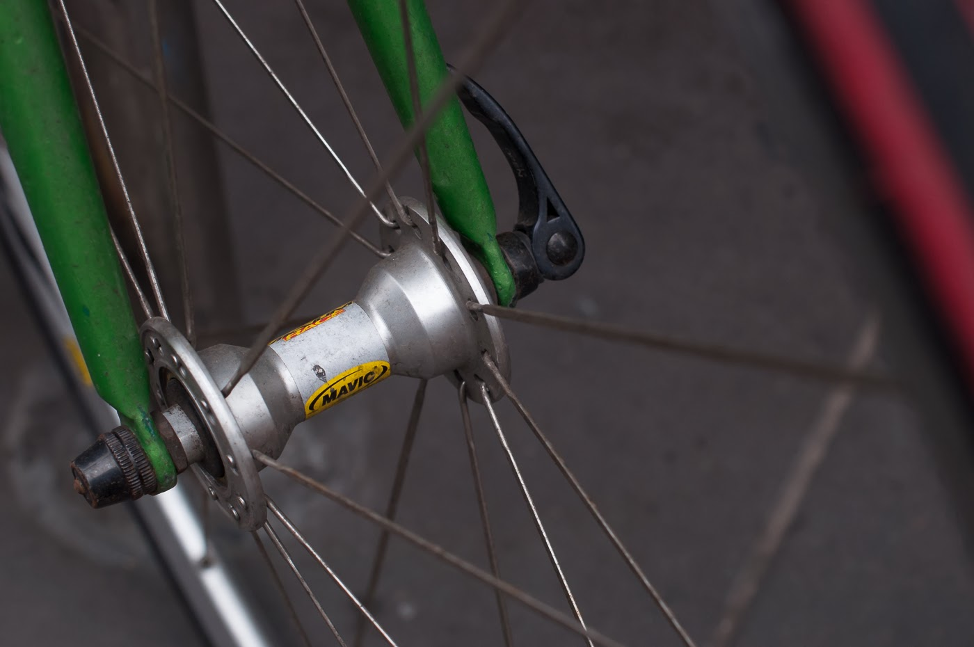 single speed, bike, bicycle, tim macauley, the biketorialist, melbourne, conversion, chain, tensioner road bik, mavic, front, hub, wheel, radial spoking