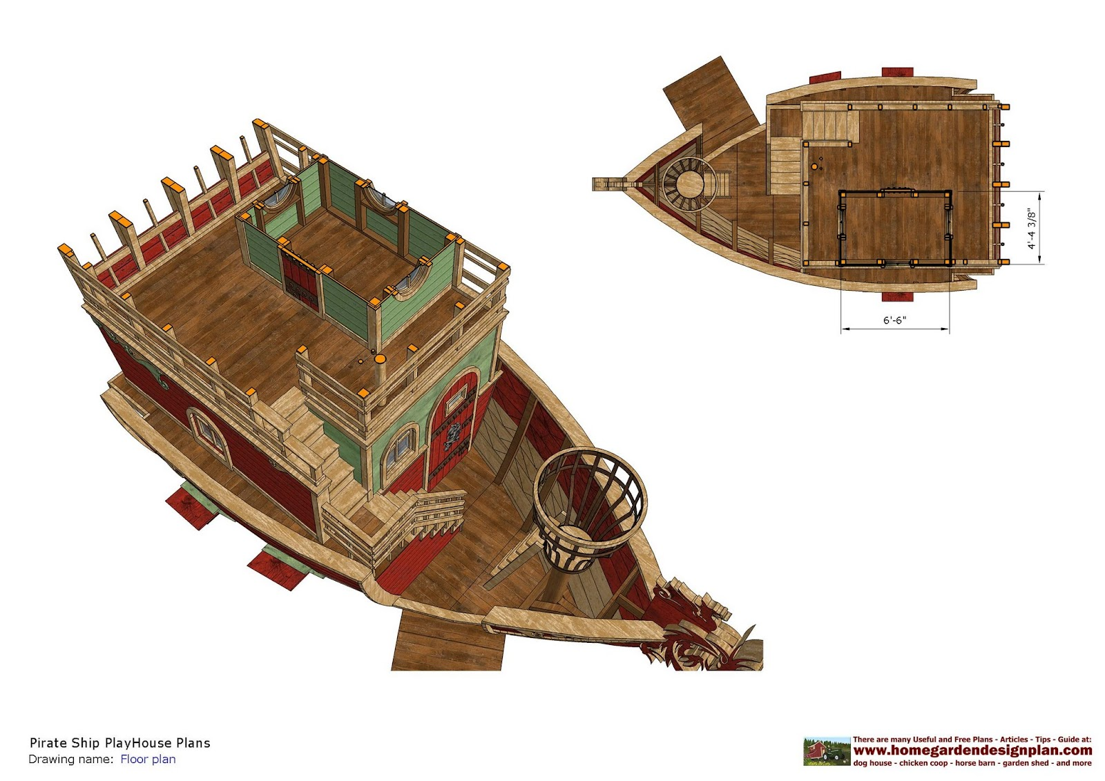 Home garden plans ps100 pirates ship playhouse plans for Playhouse plans free