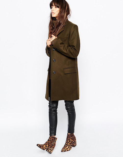gloverall green coat, gloverall wool coat,