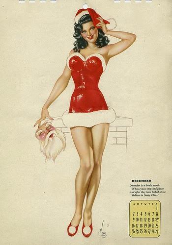 belel pin-up brune sexy en costume de mère noël et fourrure blanche. Vargas girl du mois décembre 1945 in de la seconde guerre mondiale