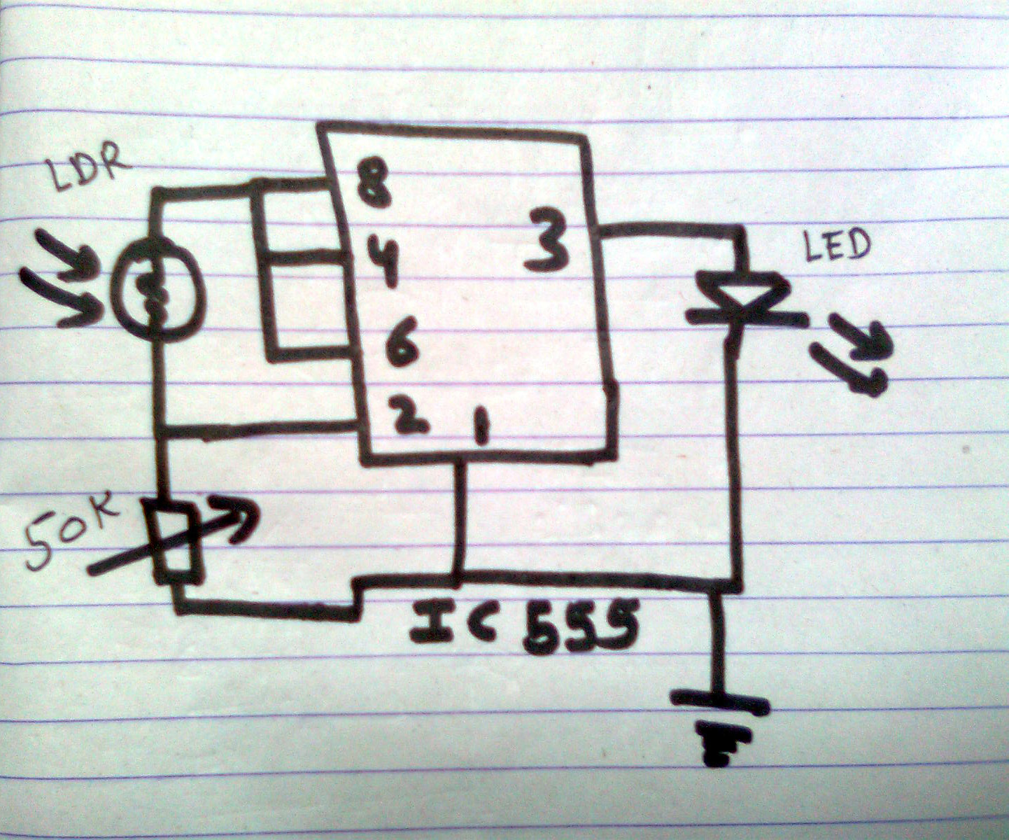 Electronics Project How To Make An Automatic Street Light Using 555 Simple Circuit Diagrams Of Projects Made By Marker