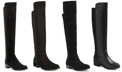 One of these pairs of black over the knee boots is from Saint Laurent for $655 and the other three are under $50. Can you guess which one is the designer pair? Click the links below to see if you are correct!
