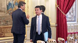 Le ministre de l'Intérieur, Manuel Valls, lors du séminaire de prospective à l'Elysée, à Paris