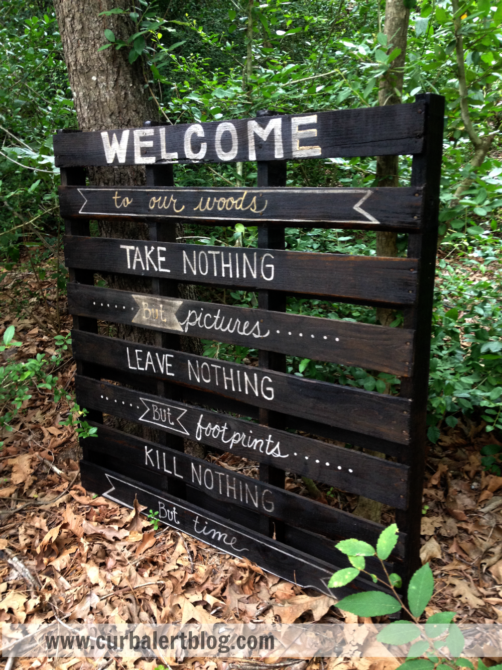 Welcome to Our Woods! Painted Pallet Sign via Curb Alert! www.curbalertblog.com