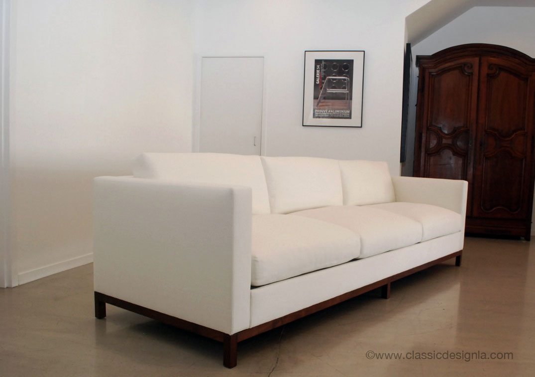 Ivory Tuxedo Sofa With Wood Base