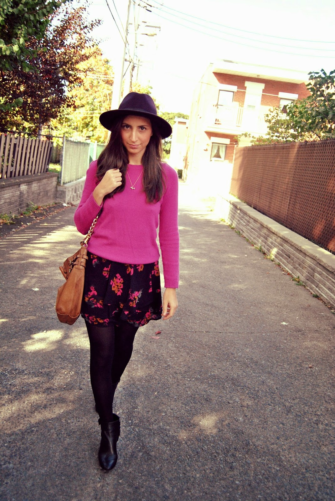 pink sweater floral skirt black booties purple eggplant hat fall fashion