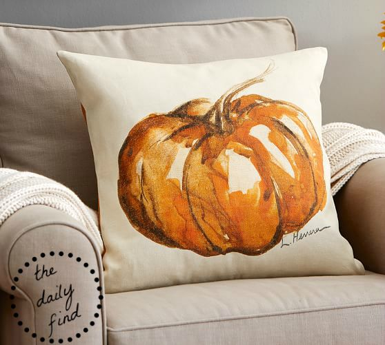 Painted Pumpkin Throw Pillow