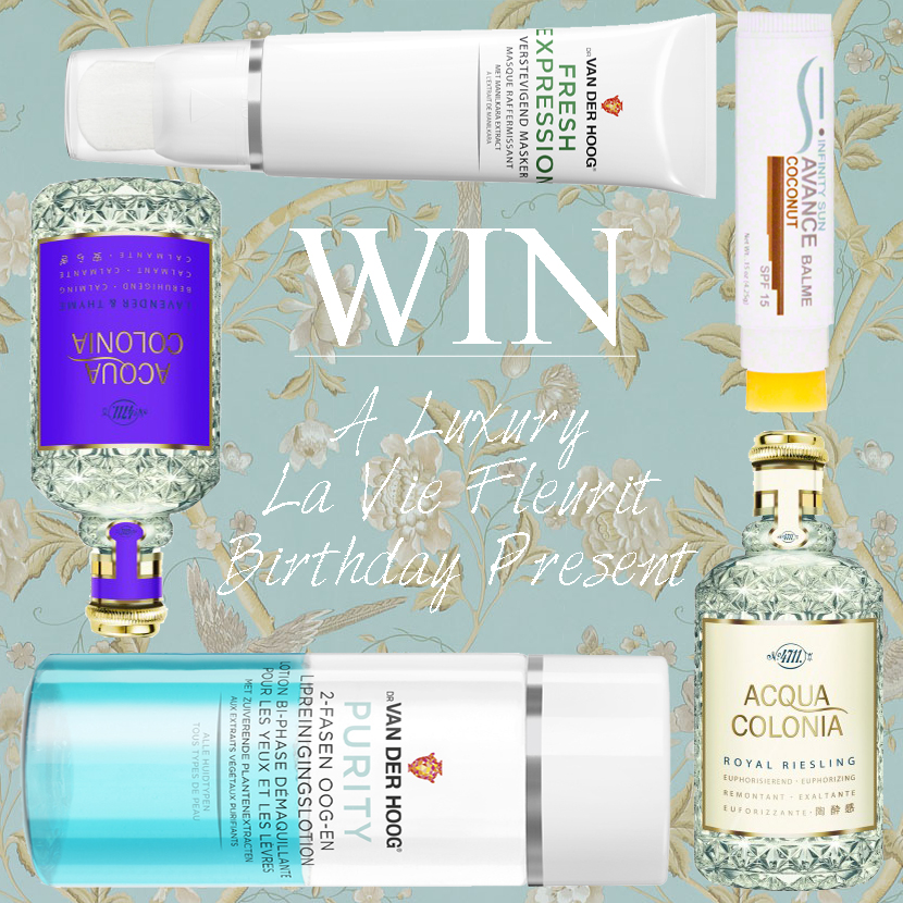 Give-Away; Win a Luxury La Vie Fleurit Birthday Present! Fashion, Beauty, Lifestyle, Win, Giveaway, Party, Perfum, Make-Up, Treatment, winnen, winactie, giveaway, blog, blogger, bblogger, anniversary, acqua colonia, perfume, parfum, dr van der hoog, masker, remover, lippenbalsem, infinity sun,