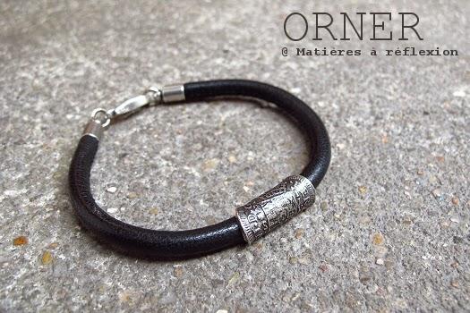 Bracelet homme en cuir noir Orner Paris