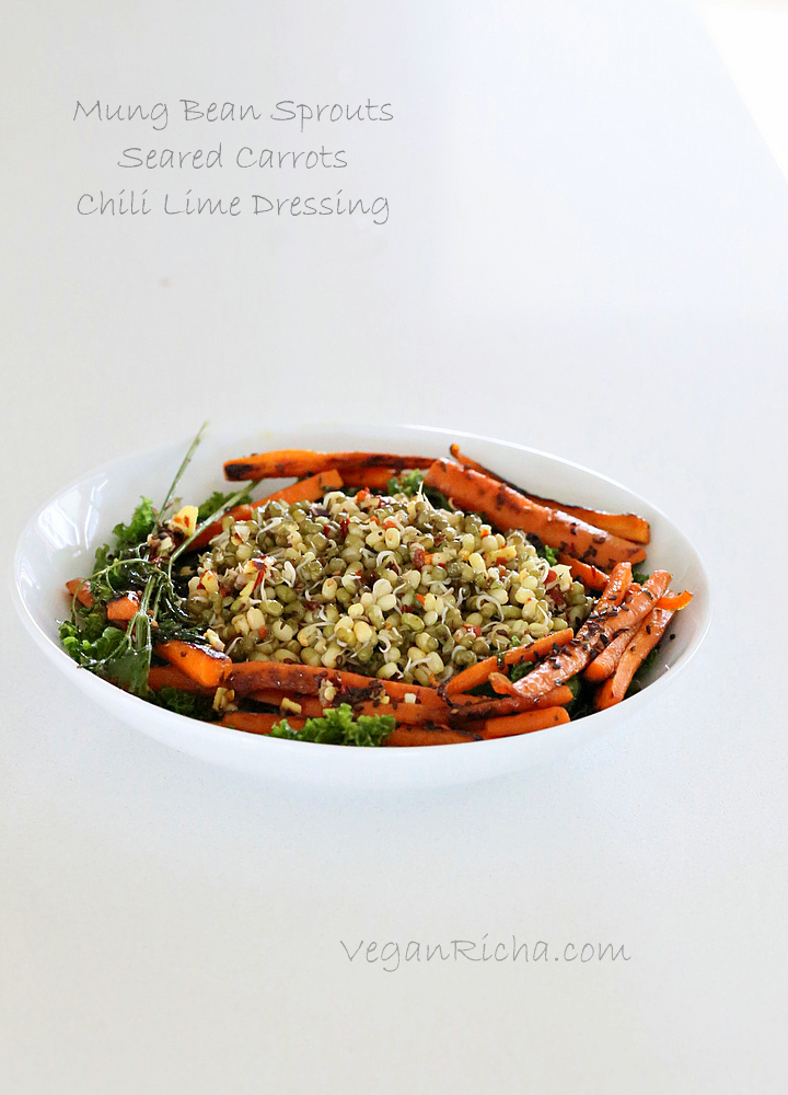 Mung Bean Sprouts, Seared Carrots, Kale Salad with Chili Lime Sesame ...