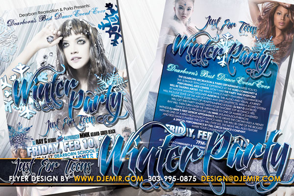 Teen Winter Dance Party Flyer Design