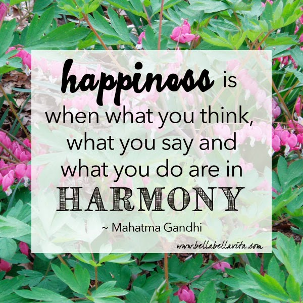 happiness quote from Gandhi by Bella Bella Vita