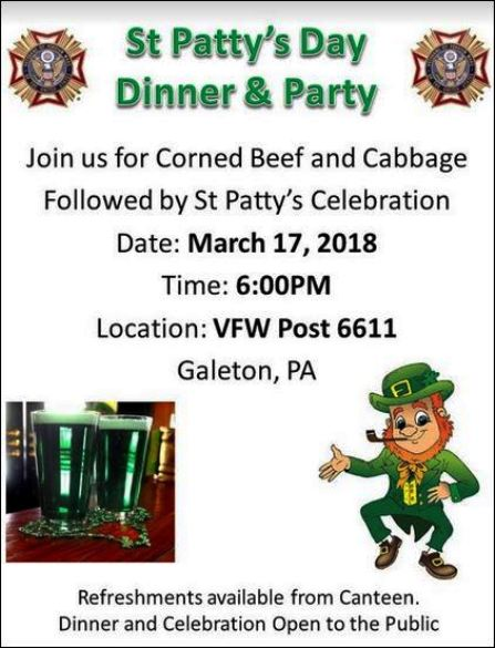 3-17 St. Pattys Day Dinner, Galeton, PA