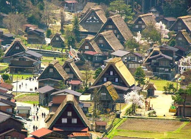 Pemandangan Desa Tradisional Jepang