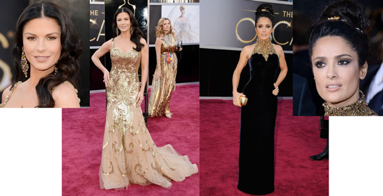 Catherine Zeta-Jones in Zuhair Murad and Salma Hayek in Alexander McQueen