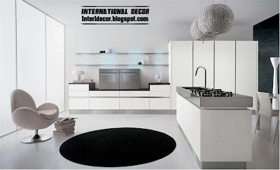 modern white kitchen designs and ideas, white kitchen cabinets and black rugs