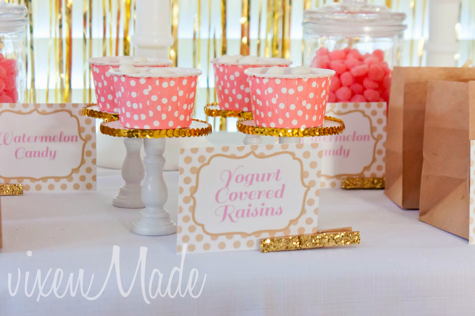 Vixenmade pink gold party printables for Gold party