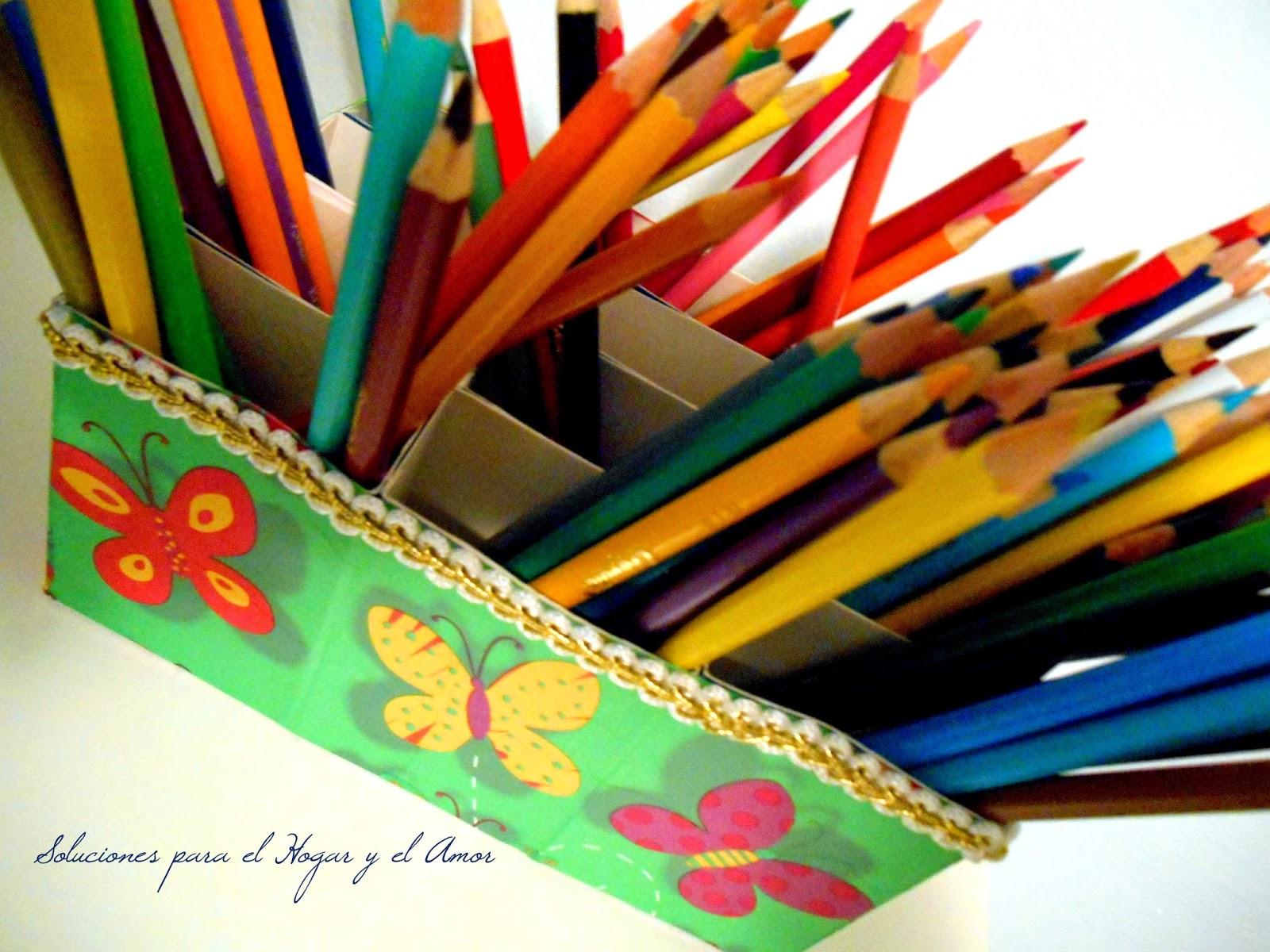 Organizador de Lápices Reciclando Cajas y Decoupage, manualidades con cajitas de cartón