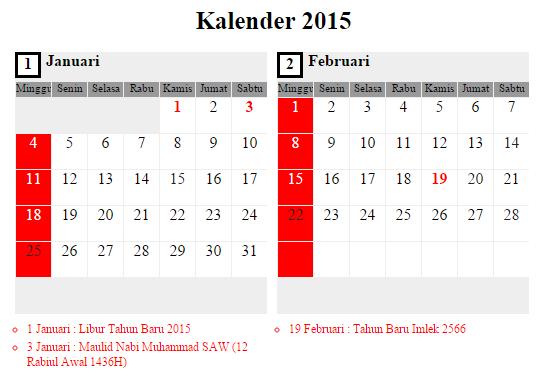Cek jadwal umroh Januari 2015 di kalender Januari 2015 - Februari 2015