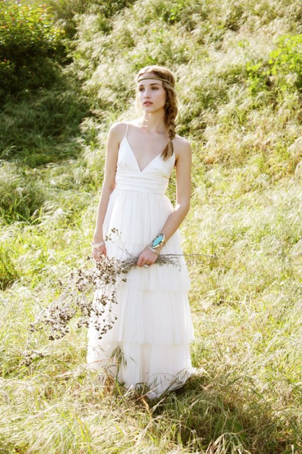 Simple Hippie Wedding Dresses bohemian wedding gown layered