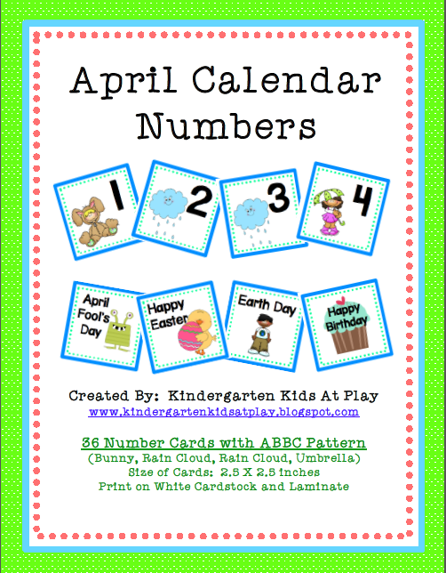 April Calendar Numbers : Kindergarten kids at play having fun with dental health