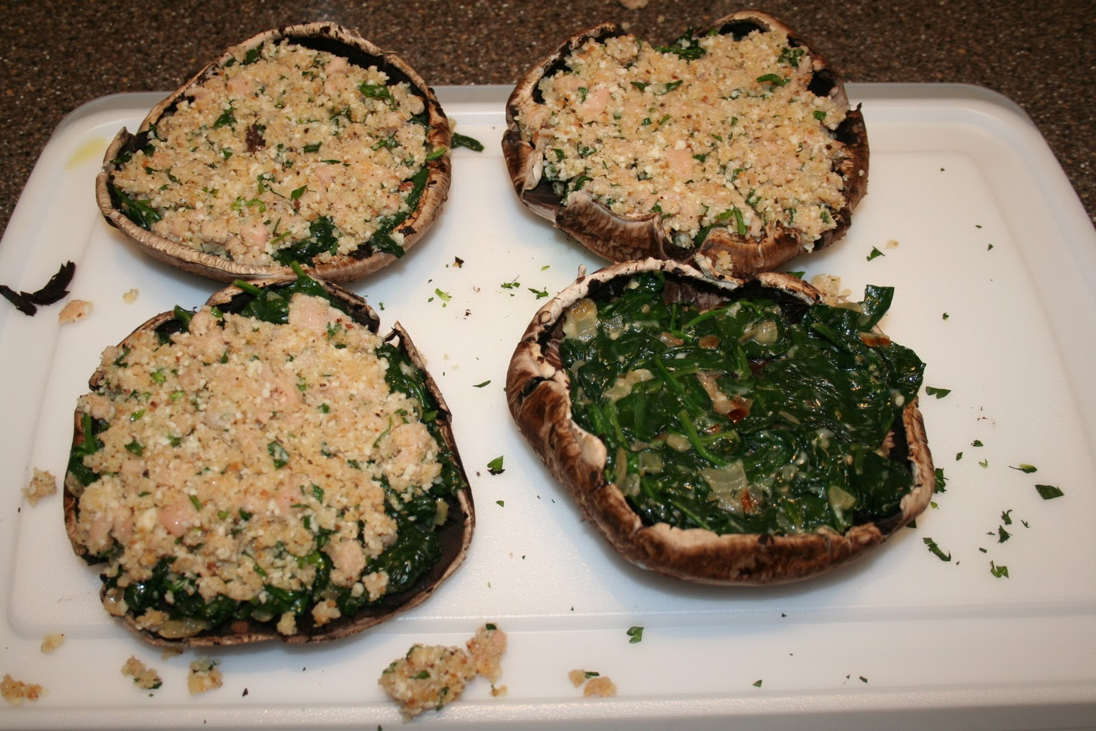 Italian-Fusion: Clam and Spinach Stuffed Portabella Mushrooms