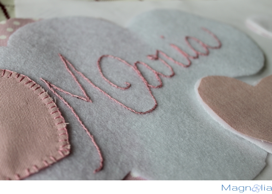embroidery, pink heart, baby girl mobile