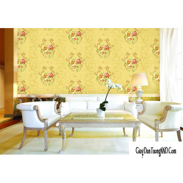 giấy dán tường phong thủy màu vàng