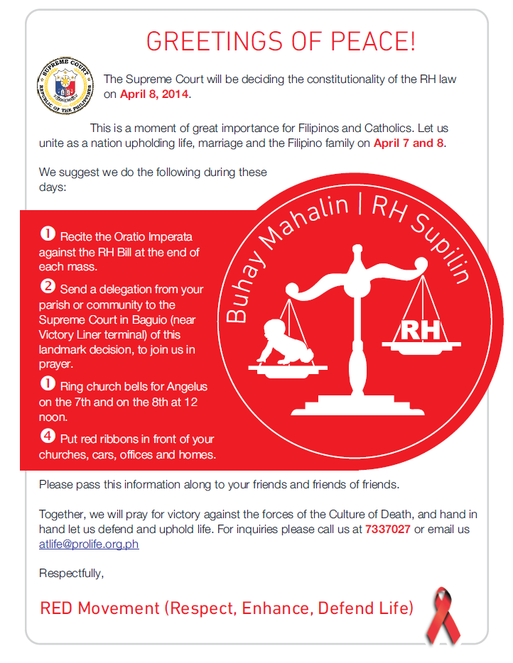 RED Movement's poster against the RH Law