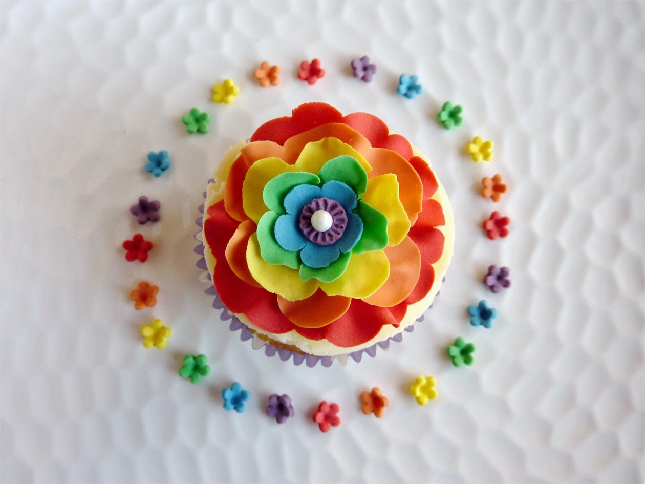 Rainbow Ruffled Fondant Flower