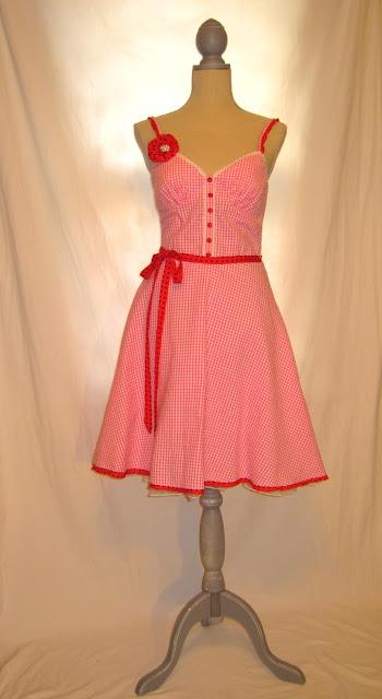 Shabby Chic Spring Summer Strap Dress, 50s Vintage Inspired Polka Dot