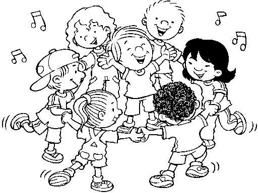 Crianças Brincando de Roda pra Colorir