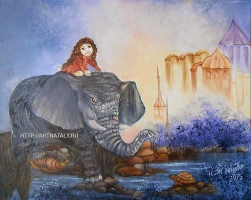 Картина маслом Девочка и слон