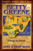 cover of Betty Greene: Wings to Serve by Janet & Geoff Benge shows an outline map of Nigeria